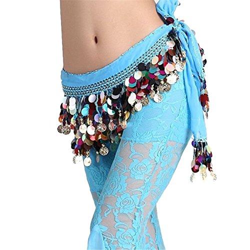 Danse du ventre costume Hip écharpe jupe Colored Sequins Foulard Costume Light Blue