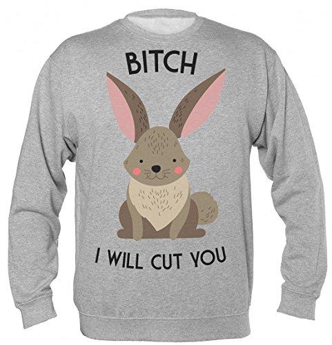 Bitch I Will Cut You Cute Little Bunny Unisex Sweatshirt Large (Farm Fluff)
