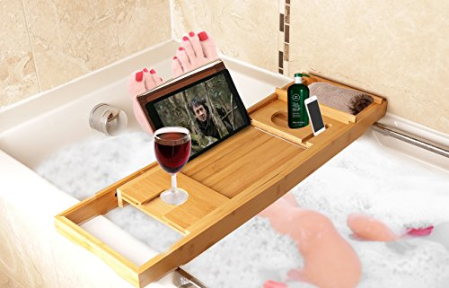 Luxury Bamboo Bathtub Caddy Tray with Extending Sides Book Rest and ...