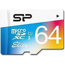 Silicon Power Elite - Tarjeta con adaptador 64 GB microSDXC UHS-1 Class 10,  lectura 85MB / s de disparo continuo de alta velocidad y vídeo Full-HD de grabación (SP064GBSTXBU1V20JP)
