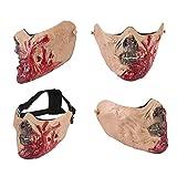 KOBWA Zombie Maske, Resident Evil Monster Maske Armee Halbgesicht Corpse Walking Dead Zombie Schädel Maske Ideal für die Jagd, Airsoft/BB Gun/CS Spiele, Halloween-Pa