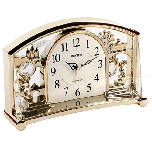 Ritmo acrilico regno incantato allarme, orologio da tavolo w rotante cristallo swarovski a pendolo