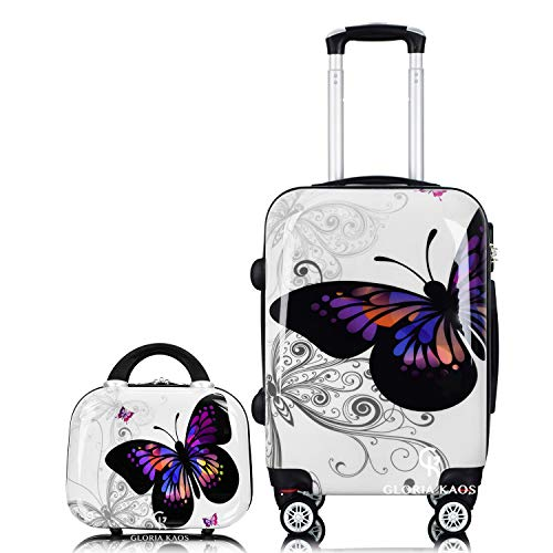 Gloria Kaos - Set Valise Papillon 55 cm + Vanity Case Mini en Polycarbonate Souple Ultra léger pour Bagage à Main
