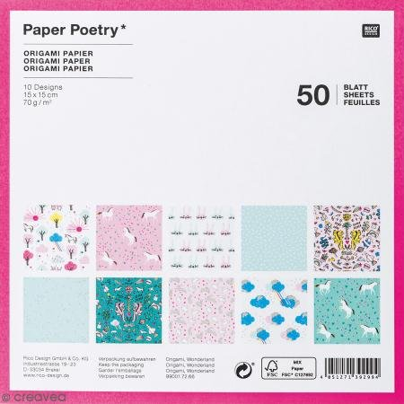 Sortiment von 50Papiere 15x 15Origami 'RICO Design–Paper Poetry' Wonderland Mix (Origami Design)