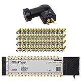 PremiumX Multischalter Set 5/32 Multiswitch Quattro LNB 72x F-Stecker, Satverteiler 1 SAT für 32 Teilnehmer HDTV FullHD 4K UHD 8K