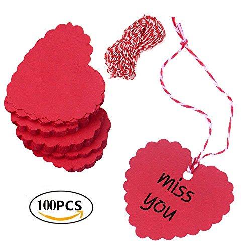 Dproptel Herz DIY-Karten Geschenkanhänger Kraftpapier Gastgeschenke Anhängeschilder Etiketten Tags mit Jute-Schnur 20 Meter für Einladung, Geschenk, Hochzeit 100pcs Rot