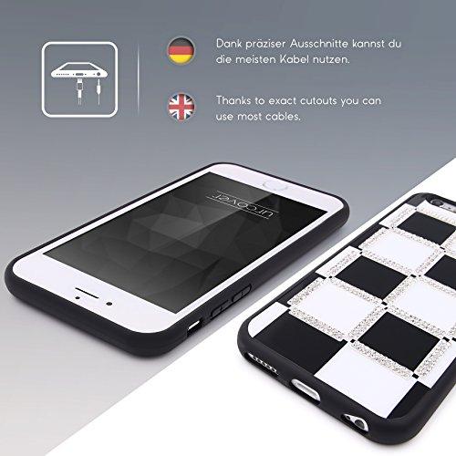 Urcover® Apple iPhone 6 / 6s Schachmuster Schutz-hülle in Schwarz / Weiß | weiche TPU / Silikon Handyhülle | Ultra Slim Back-Case Dünn Smartphone Zubehör Cover Schale Schachmuster