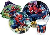 Kit Party Tavola Spider-Man Team-Up per 24 persone (112 pezzi: 24 piatti carta Ø23cm, 24 piatti carta Ø20cm, 24 bicchieri plastica 200ml, 40 tovaglioli carta 33x33cm)