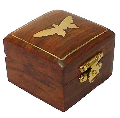 hashcart indischen Handwerker, handgefertigt und Handarbeit Holz jewelry box/Jewelry Lagerung Organizer/Trinket Jewelry Box mit traditionellen Design und Messing Einlegearbeiten