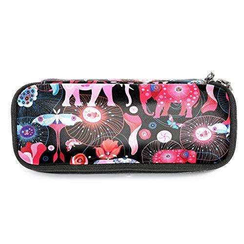 TIZORAX - Estuche para lápices, diseño de elefantes, color rosa y rojo
