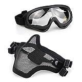 Aoutacc Airsoft Ensemble masque et lunettes, demi-masque en acier plein masque et lunettes pour CS / chasse / paintball / tir (masque...