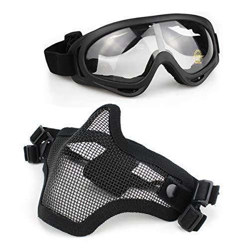 Aoutacc Airsoft Maske und Goggles Set, Half Face Full Steel Mesh Maske und Schutzbrillen für CS / Jagd / Paintball / Schießen (Black Mask) -