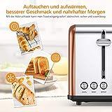 Housmile Edelstahl Toaster für 2 Brotscheiben, Frühstück Sandwichtoaster mit herausnehmbarer Krümelschublade und 6 Bräunungsstufen, abnehmbarer Brötchenaufsatz und praktische Hebefunktion, Bronze - 6