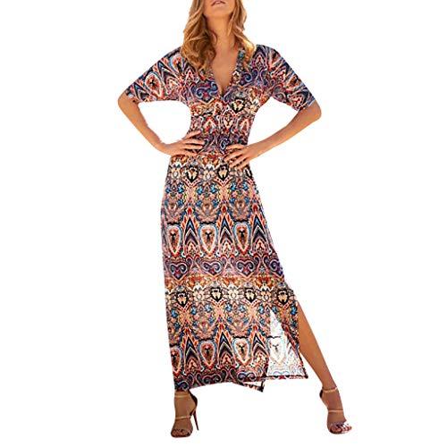Saum Brautkleid (♥ Loveso♥ Damen Elegante Beiläufige Kleid Blumenmuster Kurzarm Boho Lang Maxi Kleid Sommerkleid Öffnen Saum)