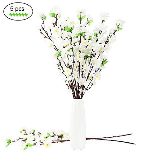 """50 """" Künstliche Kirsche Frühling Pflaume Pfirsich Blüte Zweig Seide Blume Baum Dekor 5 Punsch"""