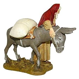 Ferrari & Arrighetti Figuras Belén: Pastor con Burro – Colección Martino Landi para Nacimiento de 10 cm