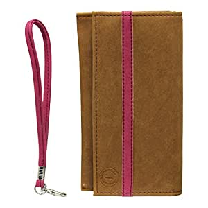 Jo Jo A5 Nillofer Leather Wallet Universal Pouch Cover Case For Coolpad Dazen1Tan Pink