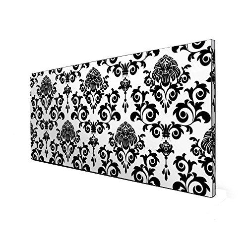 Schwarze Magnettafel von banjado | Design Memoboard 37x78cm | Metall Pinnwand mit Motiv Barock