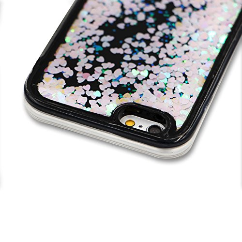 SKYXD Antiurto Morbido Silicone Gel TPU Custodia per iPhone 7 Plus 5.5,Cover 3D Creativo Disegni Lusso Bling Glitter Clessidra Liquido Sabbie Stella Nero Opaca Coperture Protettive Back Case per iPho Colore 02