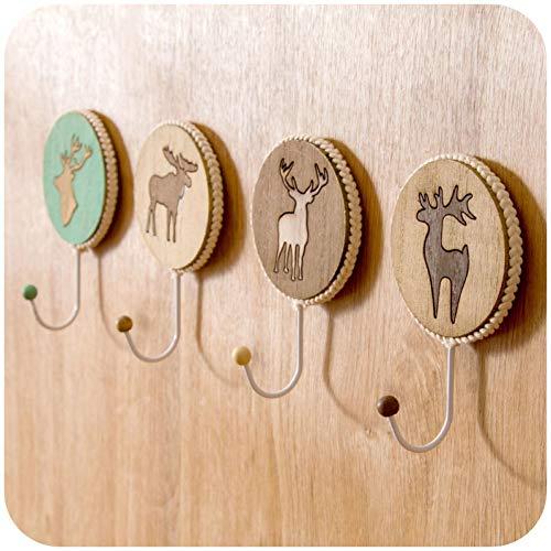 FEUBJE 4 Stücke Cartoon Holz Dekorative Handtasche Wandhaken Kleiderbügel Über Tür Haken Für Klebstoff Wandregal Home Organizer Lagerregal (Tür Dekorative Kleiderbügel)