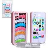 iPhone 4 / 4S Hülle Rosa Regenbogen Funkeln Hart Schutzhülle