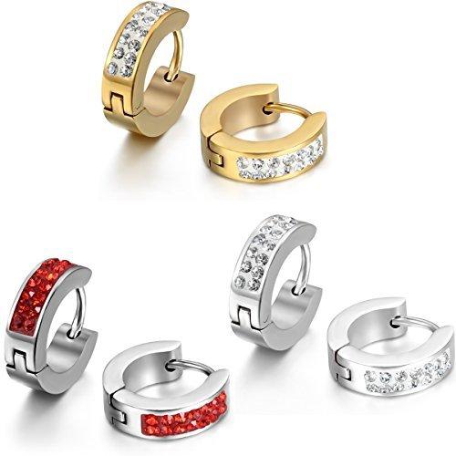 JewelryWe Schmuck 3 Paare Herren Damen Ohrringe, Edelstahl Strass Poliert Creolen Ohrstecker, Rot Gold Silber