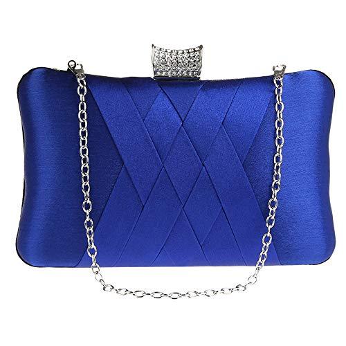 Deloito Damen Einfach Clutch Diamant Strass Handtasche Briefumschlag Kupplung Abendtasche Party Kette Seide Bankett-Taschen (Blau) -