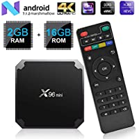 Android 7.1 RAM 2G+16G ROM TV Box X96 Mini Amlogic S905W Quad Core, 4K Ultra HD H.265,HDMI, WiFi Media Player Smart TV Box by Puersit (2G+16G)