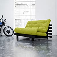 KARUP - ROOTS 140 CM, divano e letto, futon verde su legno tinto wengè