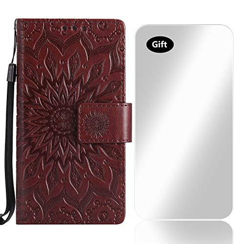 LG K10 2017 Hülle, Bear Village® Leder PU Cover Magnet Filp Brieftasche Schutzhülle mit Kostenlos Schutzfilm aus Gehärtetem Glas für LG K10 2017 (#4 Braun)