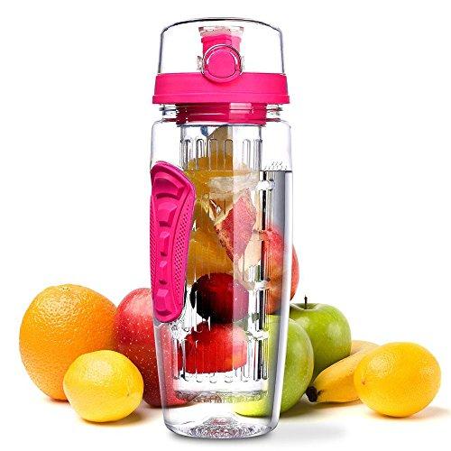 Laptone Wasserflasche, [BPA-freiem Tritan] Kunststoff Trinkflasche Sport, Flasche ca. 1L, Sportflasche Auslaufsicher, Trinkflaschen mit Verschluss & Tragehenkel für Fruchtschorlen/Gemüseschorlen -ROSA