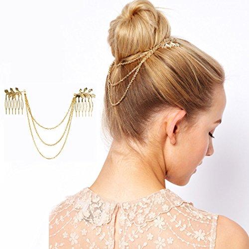 Jovono-Gold-Kopfkette, Blatt, Haarkamm, unkonventionelles Haarband, Kopfbedeckung, Stirnband für Frauen.