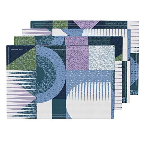 Promini Hitzebeständige Platzdeckchen, Russisches Blau, groß, Art-Deco, waschbar, Polyester, Rutschfest, waschbar, Platzsets für Küche und Esszimmer, 4 Stück - Suntouch Mat
