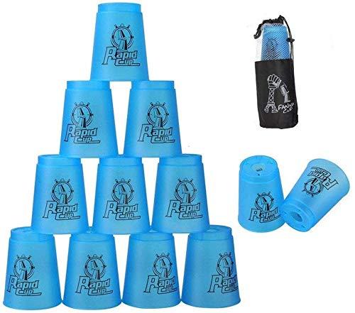 DEWEL 12 Stück Sportstapeln, Sport Stacking Stacks Cups Sport Stapeln Tassen mit Schnellverschluss Stamm Geschwindigkeit Trainingsspiel für Kinder, Blau