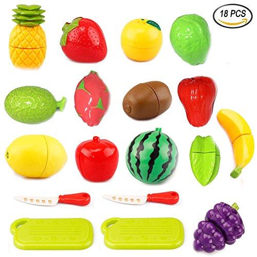 YoGou 18-teilig Plastikfrucht Küche Obst Cutting Toy Pretend Play Kinder-Rollenspiele Küchenspielzeug