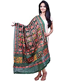 Green All Over Hand Embroiderd Kutchi Duppata With Mirror Work