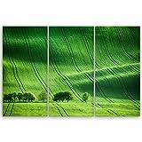 ge Bildet® hochwertiges Leinwandbild XXL - green landscape - Tschechische Republik - 120 x 80 cm mehrteilig (3 teilig)| Wanddeko Wandbild Wandbilder Wohnzimmer deko Bild | 2082