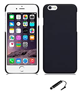TCA Rubberized Finish Matte Hard Case Back Cover for Apple iPhone 6 / iPhone 6S 4.7 - Black + Mini Stylus