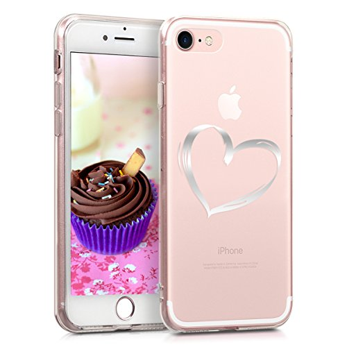 kwmobile Apple iPhone 7/8 Hülle - Handyhülle für Apple iPhone 7/8 - Handy Case in Silber Transparent