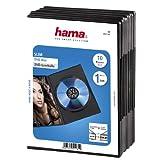 Hama DVD-Hülle Slim (auch passend für CDs und Blu-rays, extra schmal, mit Folie zum Einstecken des Covers) 10er-Pack, schwarz
