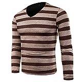 WAOSHANES Männer Casual Pullover Sportwear Herbst Patchwork Streifen V-Ausschnitt Baumwolle Strickpullover Khaki 4XL