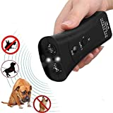 KOBWA Handheld Dog Repellent & Trainer, Dual Channel Ultrasonic Anti Barking Device 3 en 1 Repeller Dog / outil de formation / Arrêtez d'aboyer avec lampe de poche LED - 100% sans danger