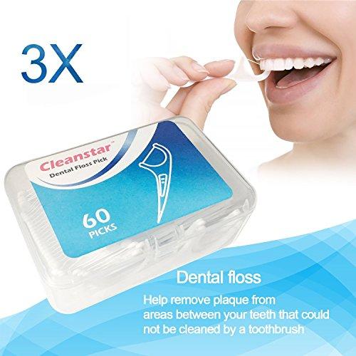 Zahnseide,Dental Floss, Hailcer 180 Stück Weiß Zahnpflege, Zahn Draht, Zahnpflege Interdental Flossers, Disposable Fresh Zahnseide Floss, Zahnseidensticks, Zahn Draht 3er Pack Gesamt 180 Stück