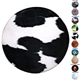 Sanilo Badteppich Rund, viele schöne runde Badteppiche zur Auswahl, hochwertige Qualität, sehr weich, schnelltrocknend, waschbar, 80 cm (Kuhflecken, 80 cm)