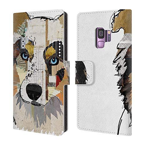 Head Case Designs Offizielle Michel Keck Australian Shepherd Hunde 3 Leder Brieftaschen Huelle kompatibel mit Samsung Galaxy S9 -