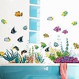 ufengke home Wandtattoo Fische Bunte & Korallen Unterwasser Cartoon Wandaufkleber Dekorative Abnehmbare DIY Vinyl Wandtattoos für Kinderzimmer, Badezimmer, WC,Schlafzimmer