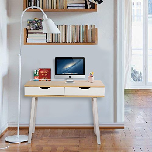 Best Price Lifewit Computer Desk Study Table, Modern Simple Writing Table with Drawers and Large Storage for Home / Office / Workstation, Burlywood 100x60cm