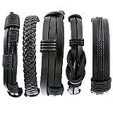 Herren Armband Set Leder Armbänder Armreifen Geflochten Armketten Größe Verstellbar 5 Stücke Schwarz