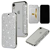 Yobby Coque pour iPhone XR,Ultra Slim Cuir Glitter Paillette Argent Cuir Rabat...
