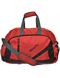 Hexagon Polyester 30 Cms Black And Red Lightweight Travel Bag
